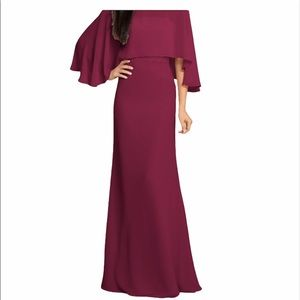 HAYLEY PAIGE Sangria 5906 Chiffon Caped Gown